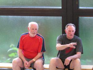 Walter (Juller) Hornung (links) mit Mike, unserem amerikanischen Gruppenmitglied im Mai 2017