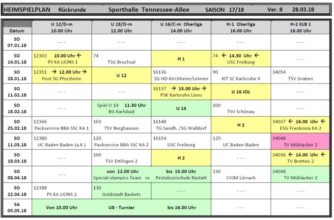 Heimspielplan 2017/2018 - Vorrunde